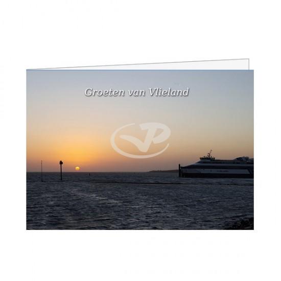 Wenskaart A6 Veerboot Vlieland bij Ondergaande Zon
