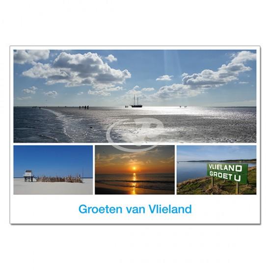 Ansichtkaart A6 Vlieland Wadgezicht Compilatie