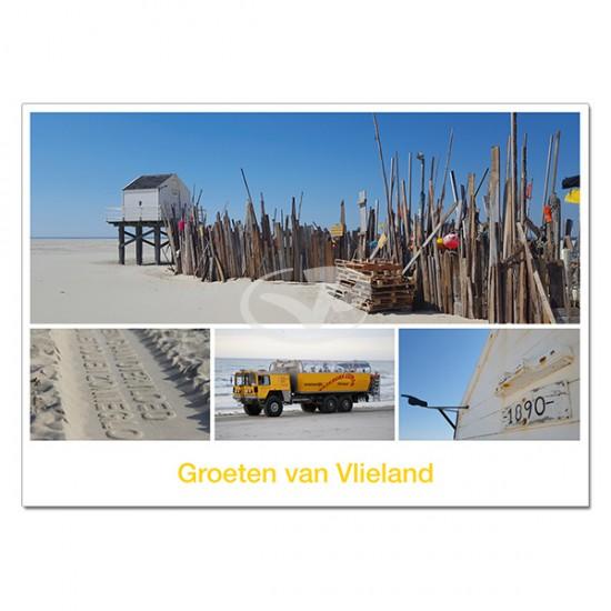Ansichtkaart A6 Vlieland Vliehors Expres Compilatie