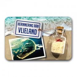 Magneet Doming Vlieland Luchtfoto Met Flesje Met Zand en Hartjes
