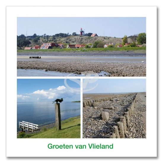 Ansichtkaart 15x15 Dijk Vlieland Compilatie