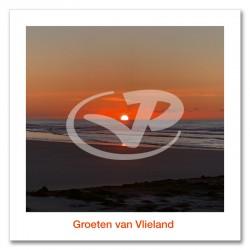 Ansichtkaart 15x15 Zonsondergang Strand Vlieland