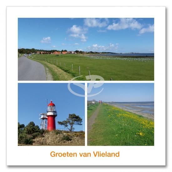 Ansichtkaart 15x15 Dorp Dijk Vuurtoren Vlieland