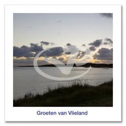 Ansichtkaart 15x15 Zonsondergang Wad Vlieland