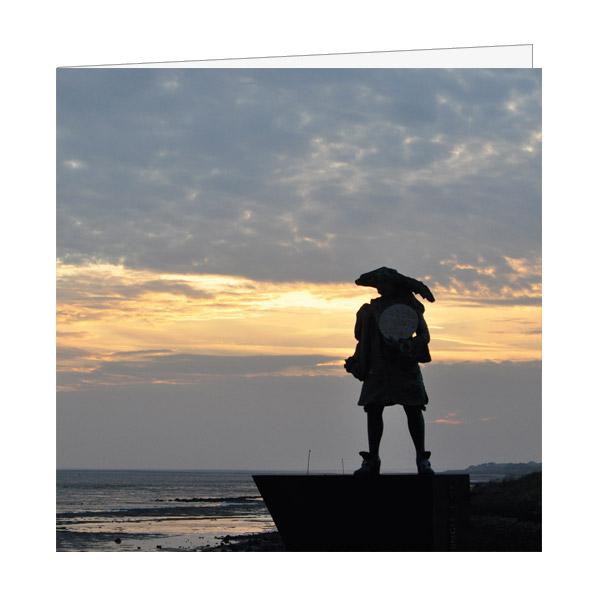 Wenskaart Vlieland Willem de Vlamingh beeld met ondergaande Zon