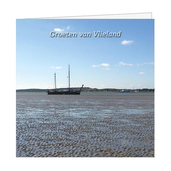 Wenskaart Zeilschip op Wad met Vlieland op de achtergrond